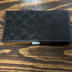 Coach Checkbook Cover - Black Signature